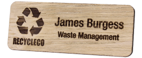 Engraved Wooden Name Badges | www.namebadgesinternational.co.uk
